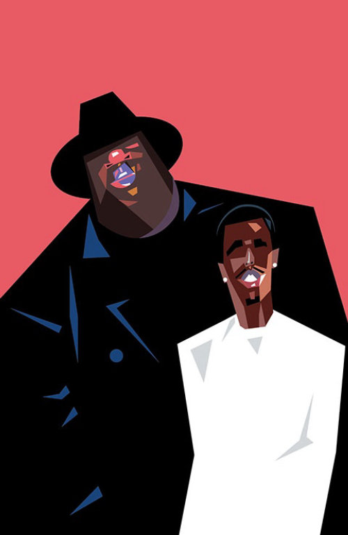 Comic portrait of Biggie and Puff