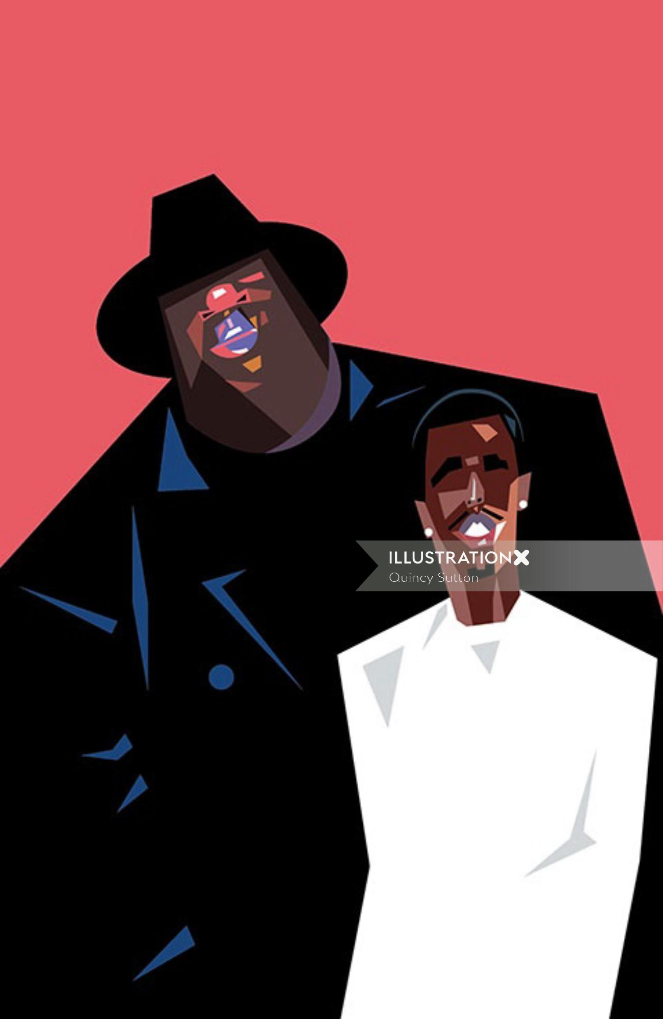 Comic portrait of Biggie and Puff