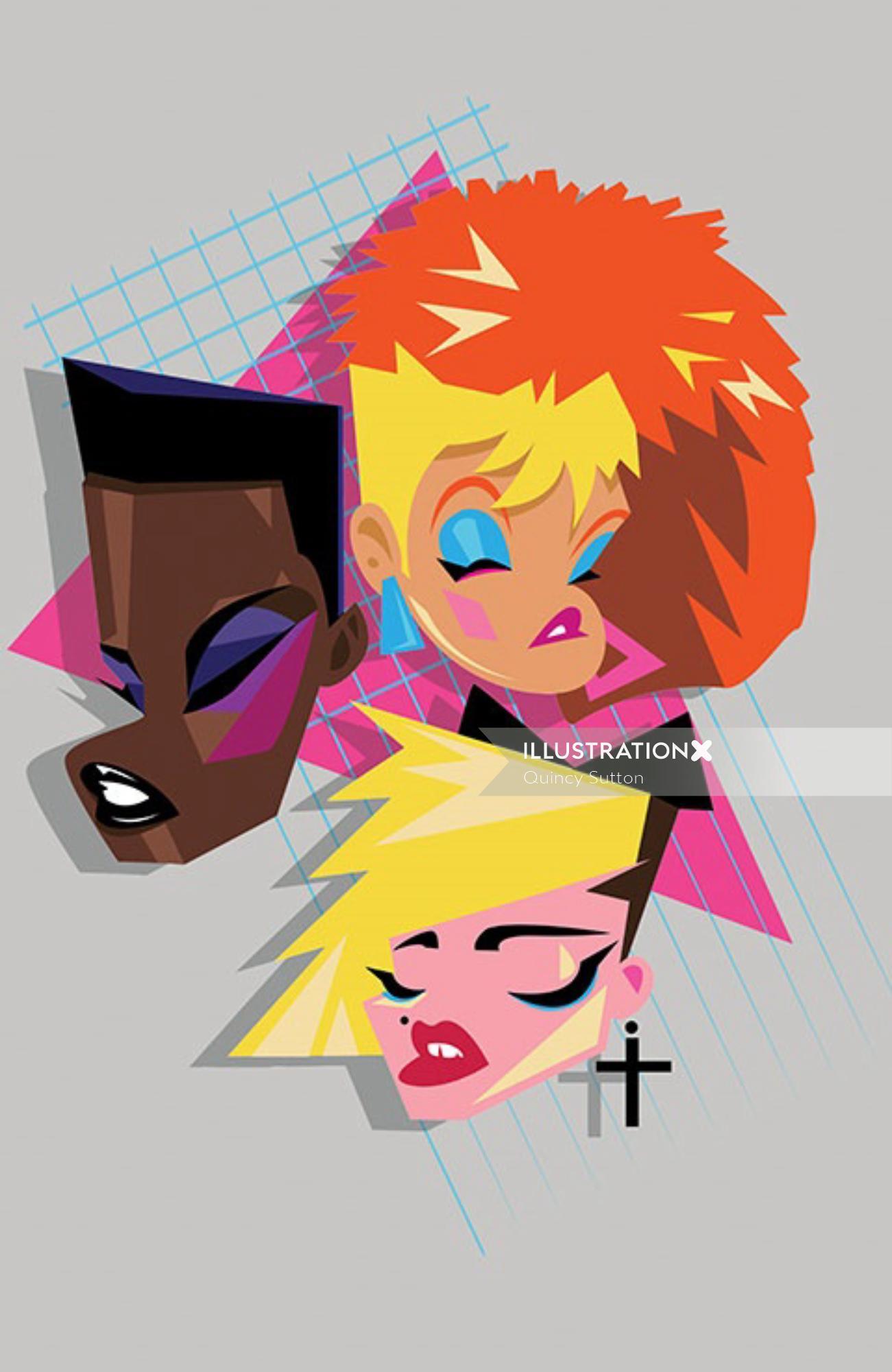 Character design of american top female singers