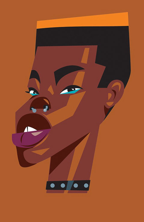 Minimal stylized portrait of Afro Punk
