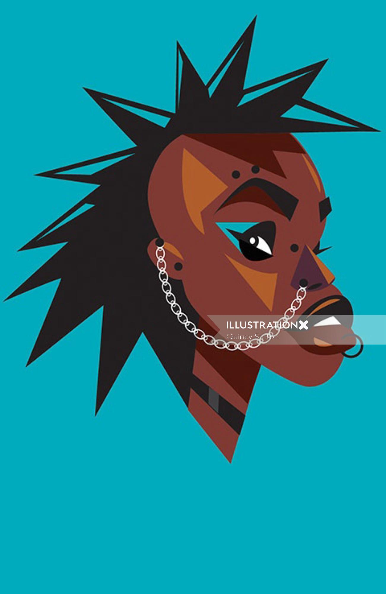 Afro Punk comic illustration by Quincy Sutton