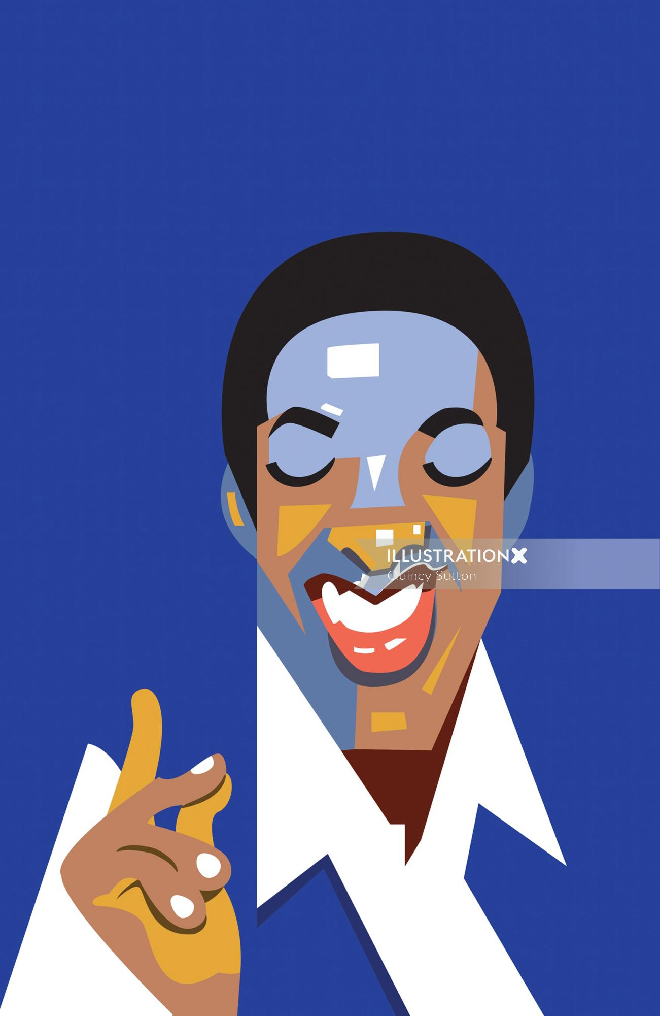 Cartoon portrait of Sam Cooke