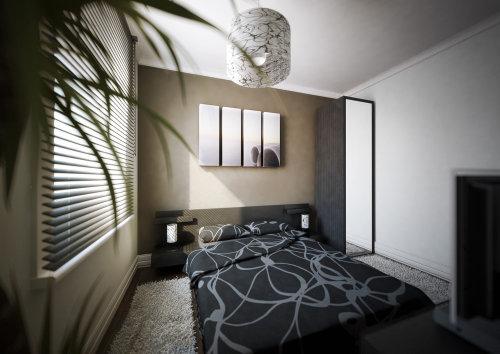 Architectural sketch of designer bedroom