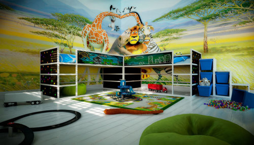 3D Architecture artwork of kids bed room