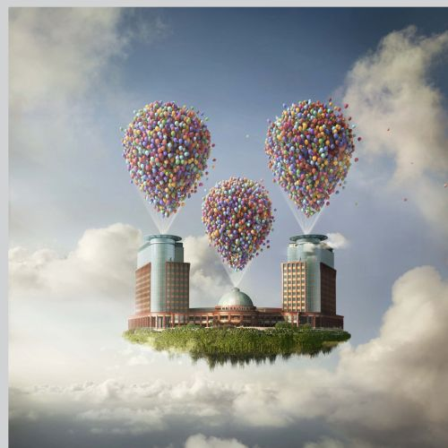 City floating balloons