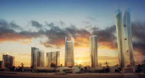 sunset skyline with tall buildings