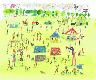 drawing of a park with people refreshing