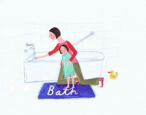 Illustration d'une mère prenant un bain à son bébé