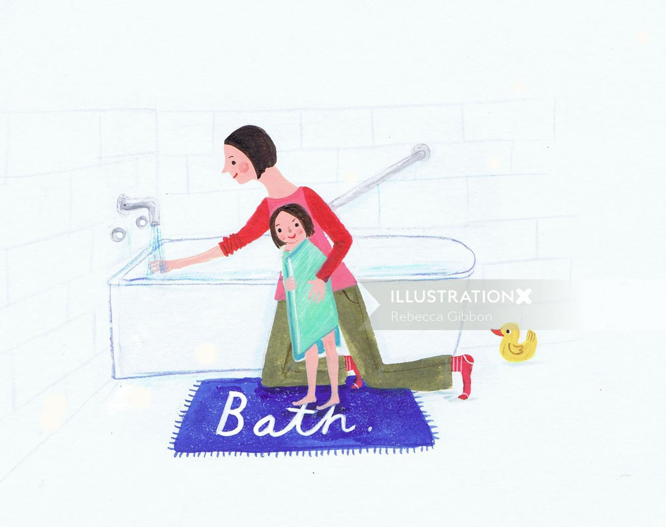 Illustration of a mother having bath to her baby