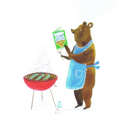 Illustration of bear coocking BBQ