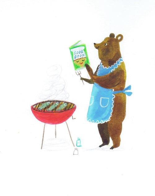 Illustration of bear coocking BBQ
