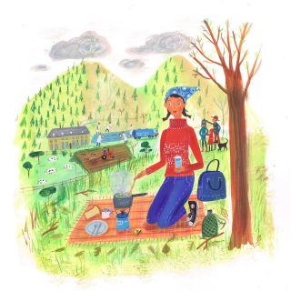 Watercolor art of girl cooking on picnic