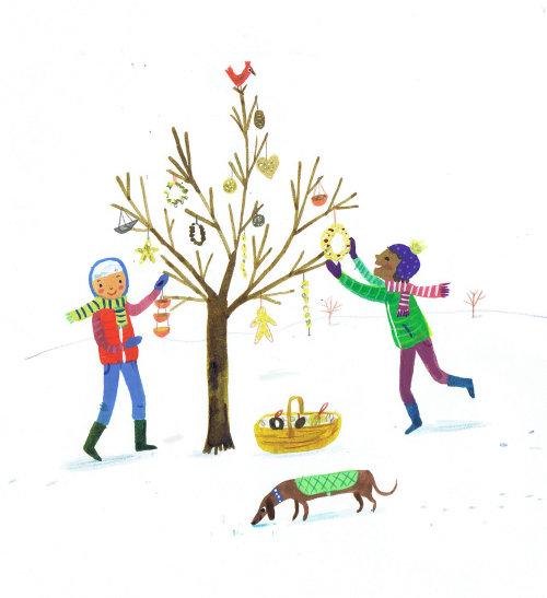 enfants, décorer, arbre, noël