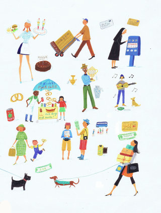 painting of activities happening in the city