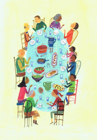 Friends are enjoying on dining table
