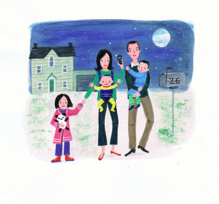 Parents are walking with children illustration