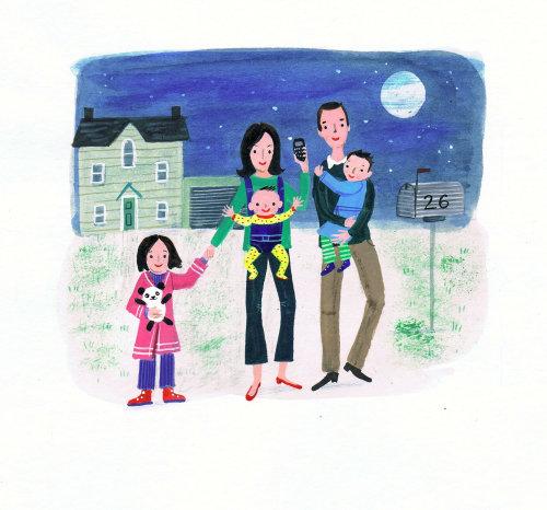 Les parents marchent avec des enfants illustration