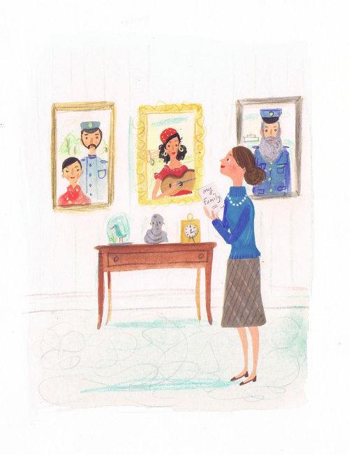 peinture d'une dame admirant sa famille