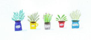 painting of saplings in pots