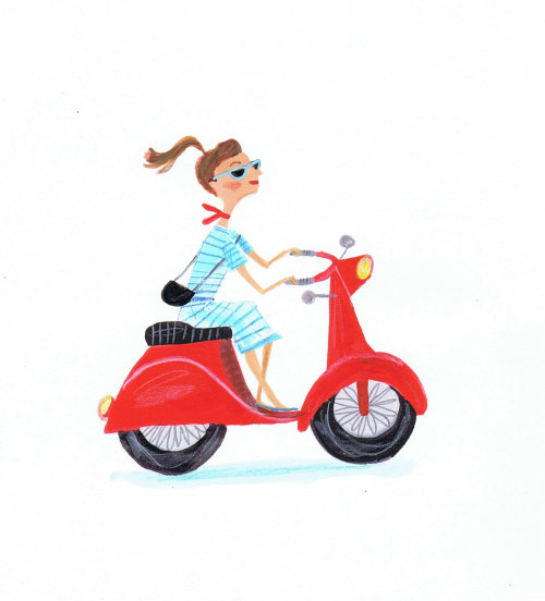 illustration of fashion girl riding a motorbike