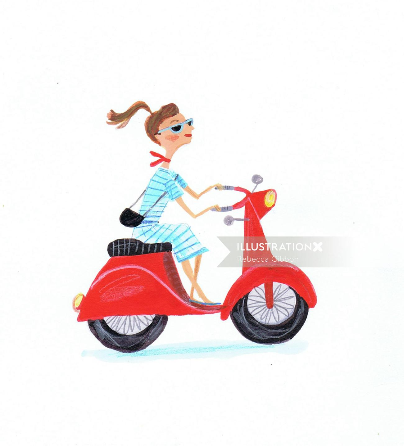 illustration of fashion girl riding a motorbike