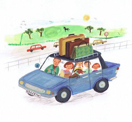 peinture à la main de famille heureuse en voyage en voiture