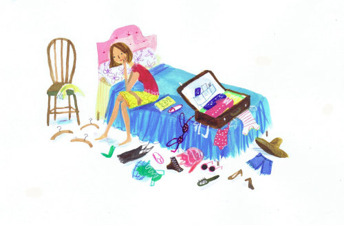 Illustration of girl packing her suitcase