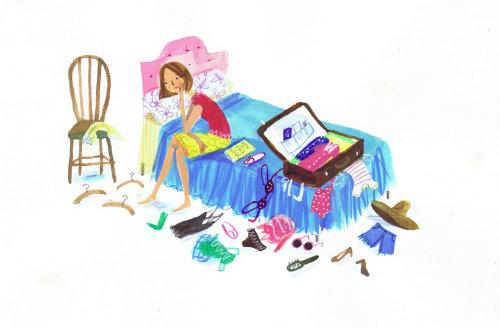 Illustration de jeune fille emballant sa valise