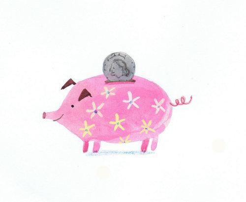 pink floral print piggy bank