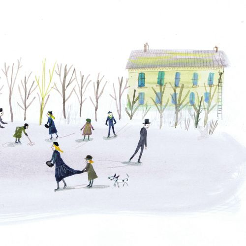 Illustration of people in the snow