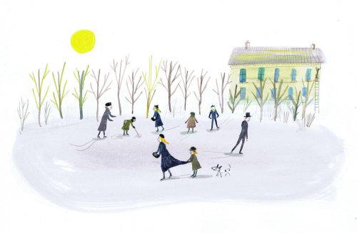 Illustration des gens dans la neige