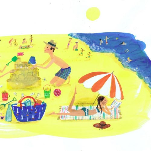 Illustration of people playing at beach side