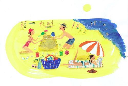 Illustration de personnes jouant au bord de la plage