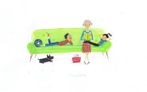 illustration de maman racontant l'histoire aux enfants dans le canapé