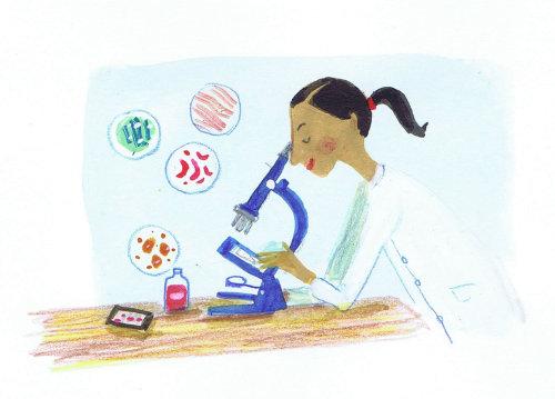 Travaux de peinture d'un médecin vérifiant un échantillon de sang en laboratoire