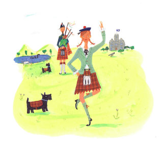 lady dancing on bagpiper's tune