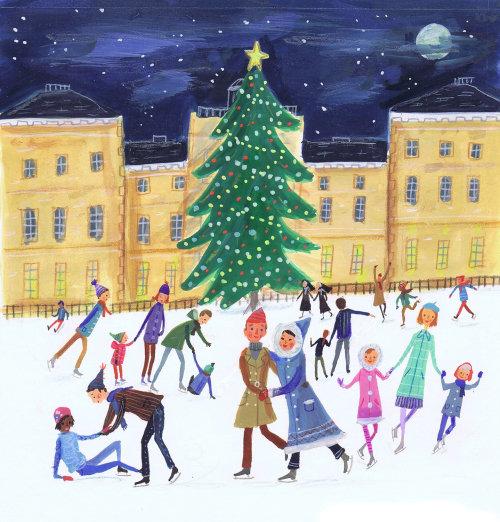 gens, célébrer, noël, dans, hivers