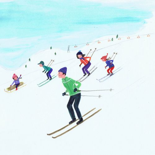 sketch of a family skiing down the hill