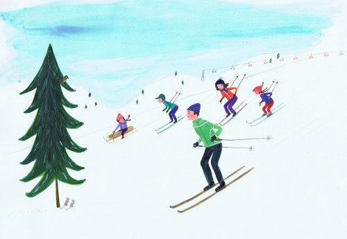 croquis d'une famille skiant sur la colline