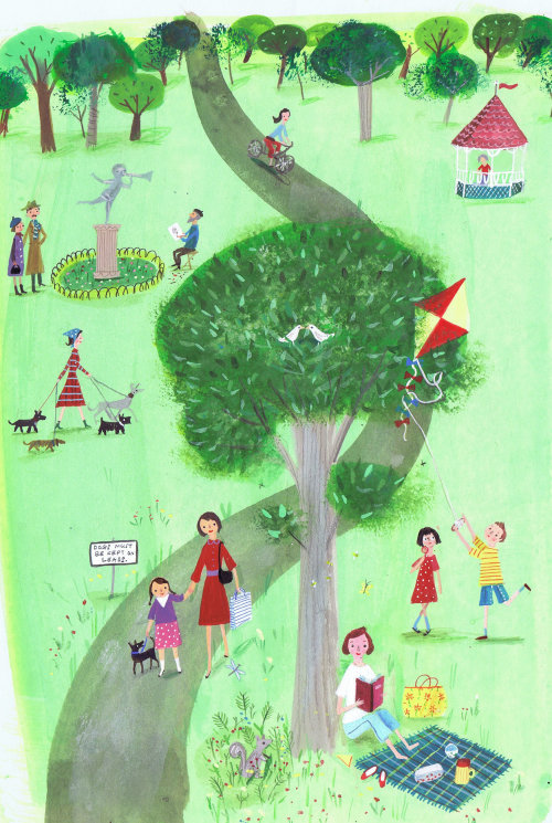 Illustration of children in a park