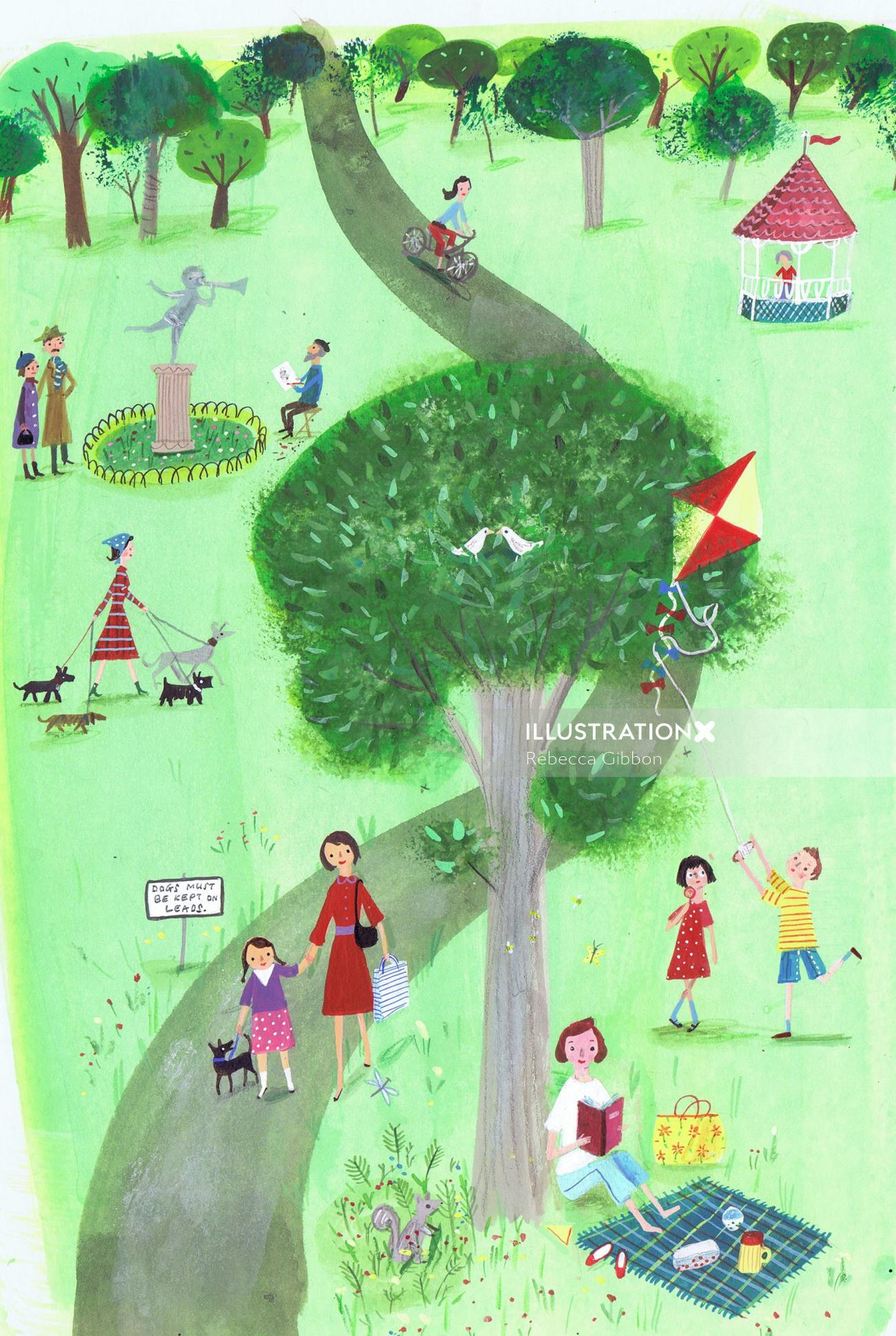 Illustration of children in a park