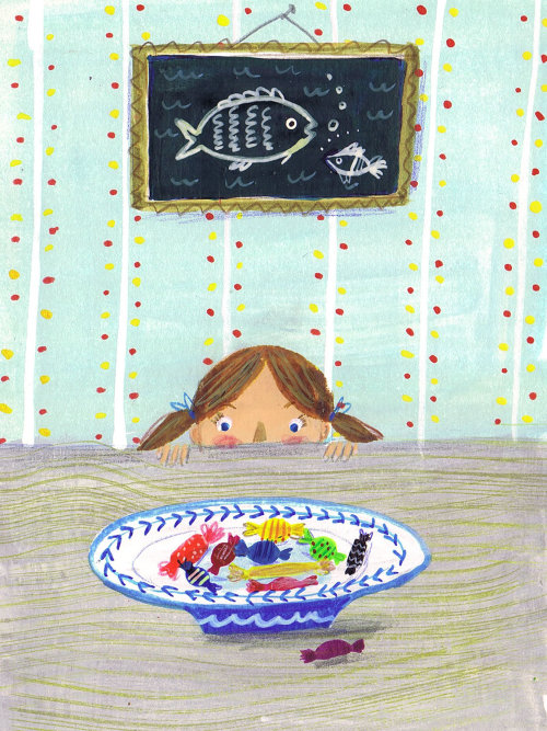 Illustration of little girl looking at the chocolates