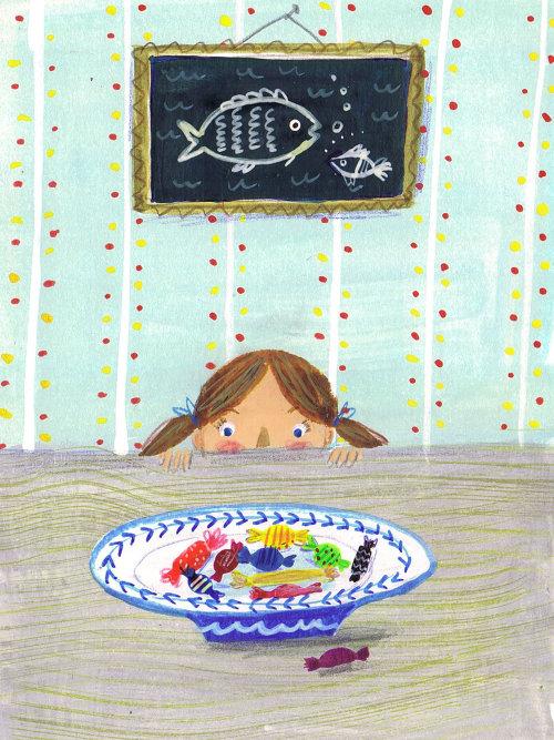 Illustration de petite fille regardant les chocolats
