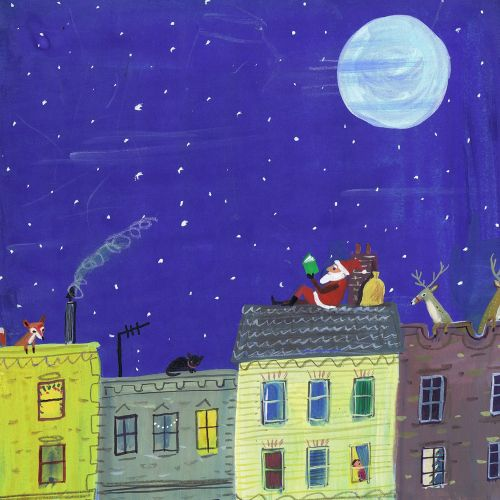 santa reading under the night sky