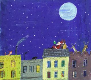santa reading under the night sky