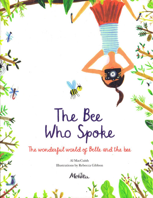 illustration of women taking photo of bee