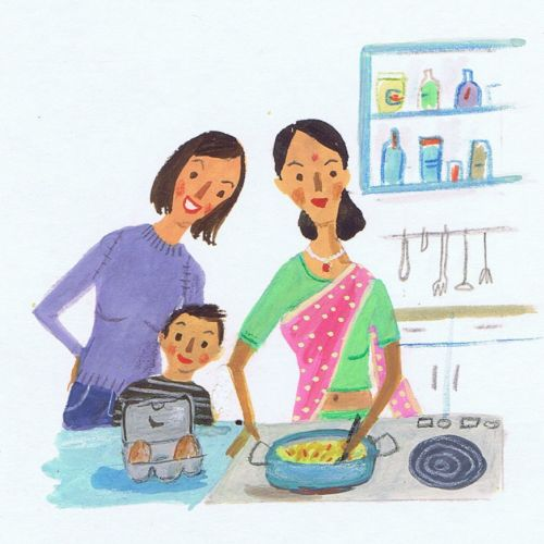 Hand Painting of mother is cooking in kitchen
