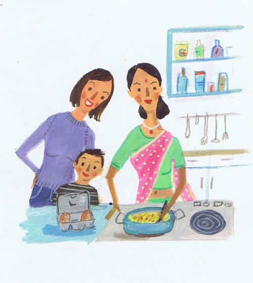 Peinture à la main de la mère cuisine dans la cuisine