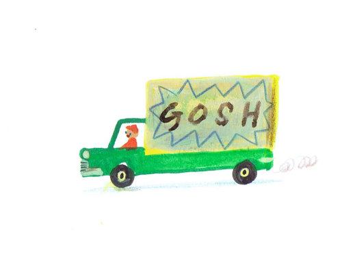 camion vert avec étiquette gosh