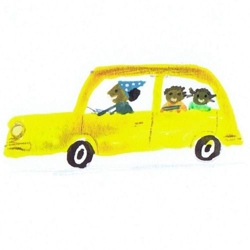 sketch of kids going school in yellow car